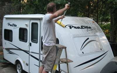 Keep dirt off your travel trailer