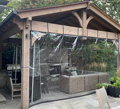 Gazebo with two sides covered