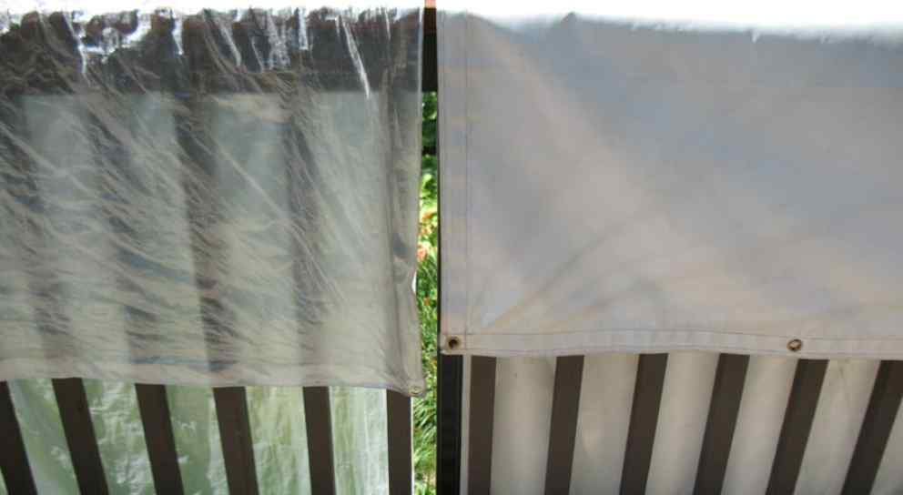 Comparison of cheap thin tarp and a heavy duty tarp
