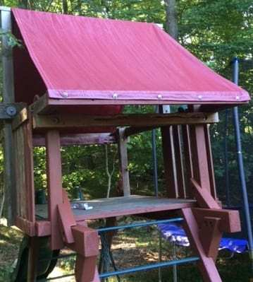 Swingset cover provides shade and rain protection