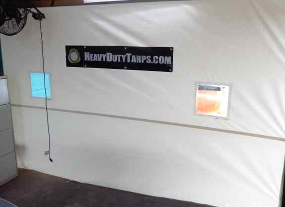 White tarp with windows and Heavy Duty Tarp logo