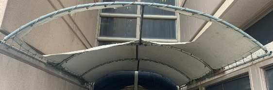 Old ripped awning