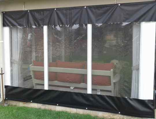 Clear tarp with solid vinyl border